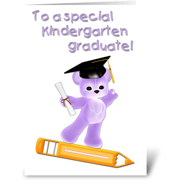 Kindergarten Graduate, Purple Bear  greeting card