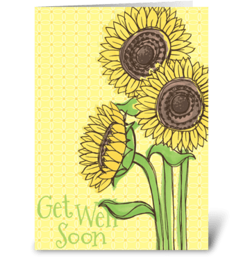 Get Well Soon Sunflower greeting card