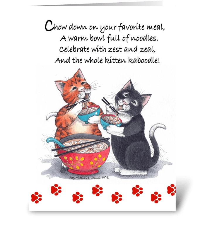 Noodle Cats Happy Birthday #64 greeting card