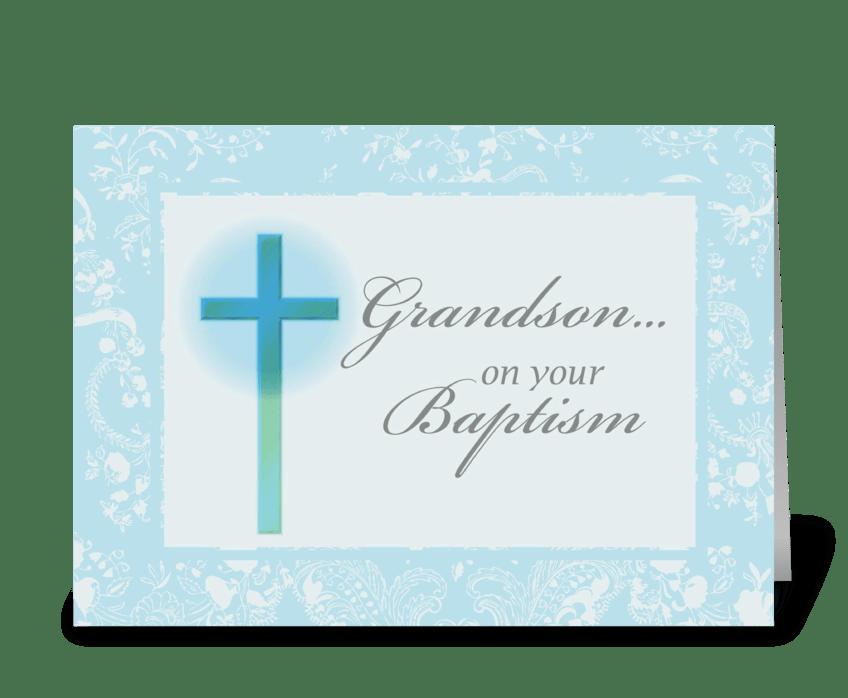 3881 Grandson Baptism, Blue, Lace greeting card