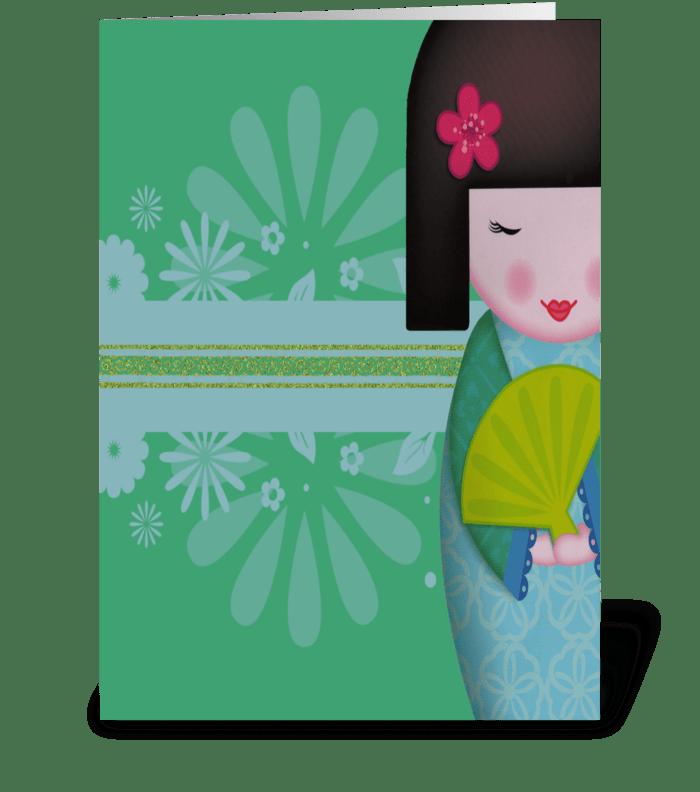 Little Geisha Blue Full greeting card