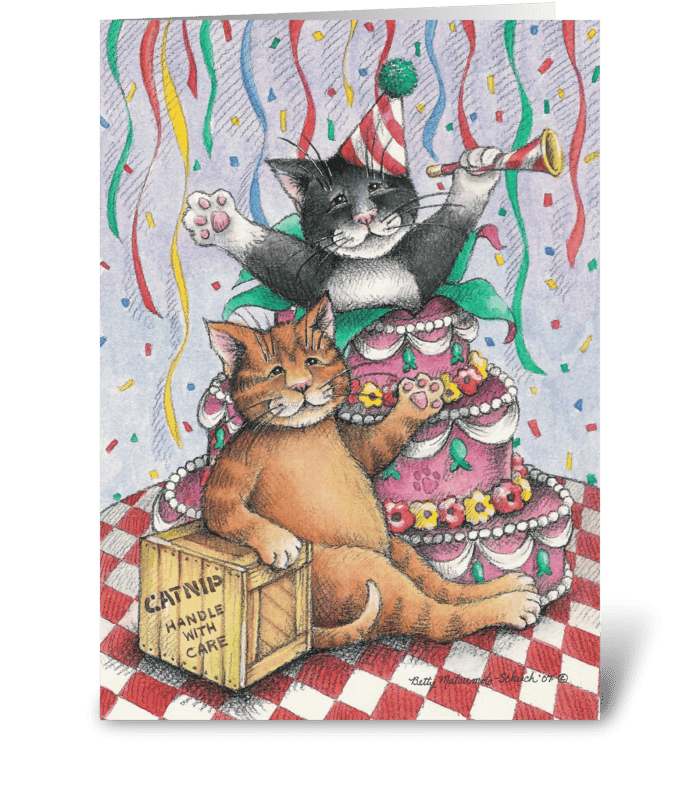 Birthday Cats W/Cake #1 greeting card