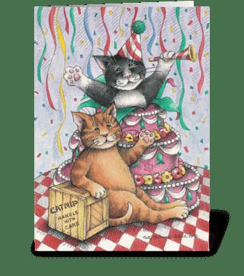 Birthday Cats W/Cake #1 greeting card