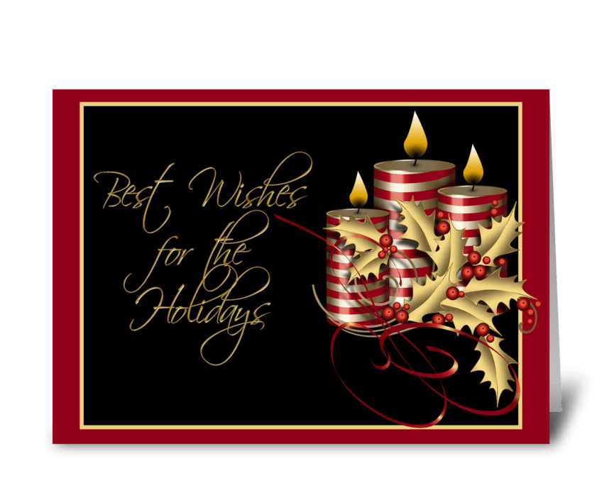 Gold Holly, Candles, Christmas Greeting  greeting card