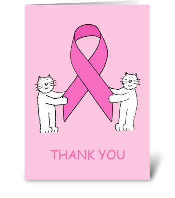Pink Ribbon Thanks For Your Support. greeting card