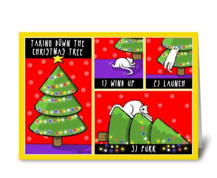 Taking Down the Christmas Tree greeting card