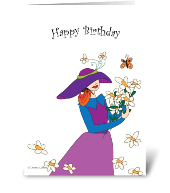 Birthday bouquet of flowers greeting card