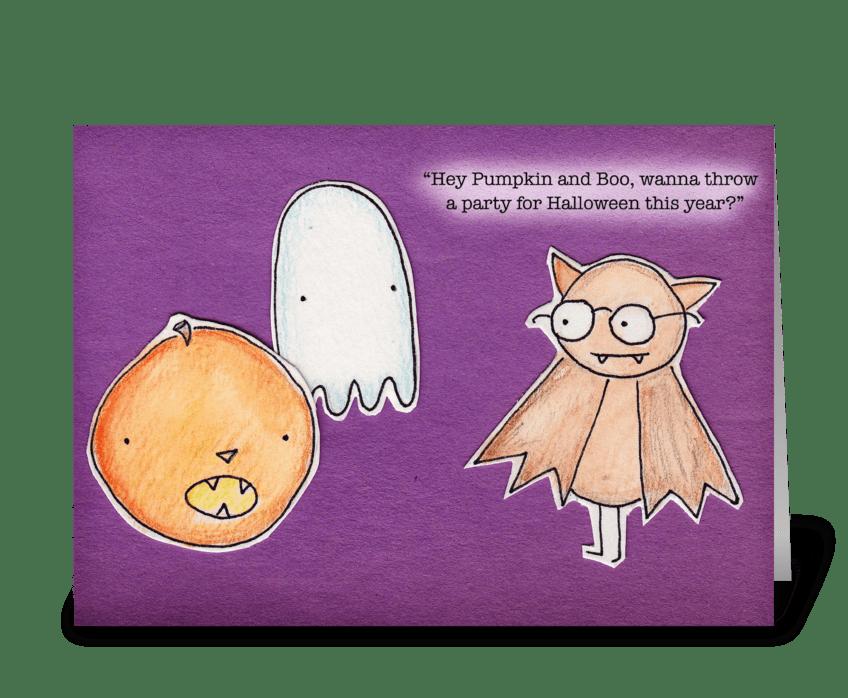 Boo, Bat & Pumpkin greeting card