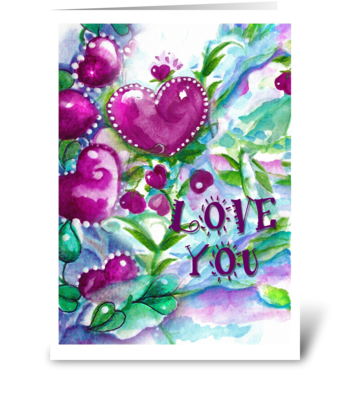 LOVE YOU, Hearts, flowers greeting card