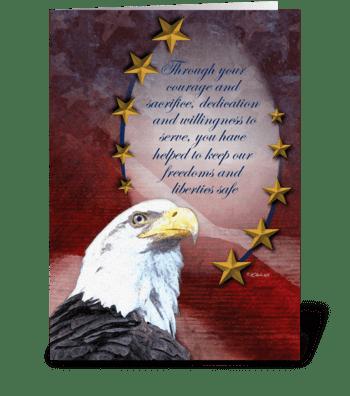 Bald Eagle and Golden Stars Veteran's Da greeting card