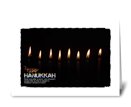 happy hanukkah candles lite greeting card