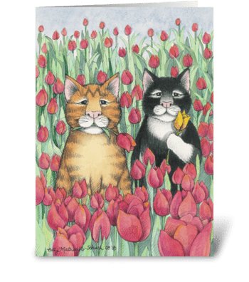 Tulip Cats Birthday #47 greeting card