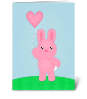 Cute Pink Bunny  greeting card