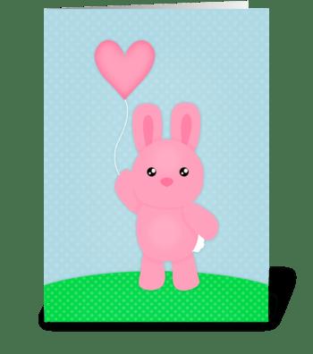 Cute Pink Bunny  greeting card