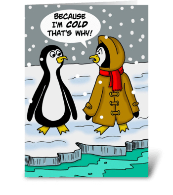 Penguins Because I'm Cold That's Why greeting card