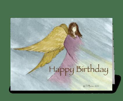 Angel Birthday Blue greeting card