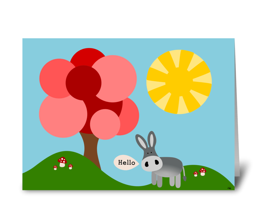 Charlie the Donkey- Hello greeting card