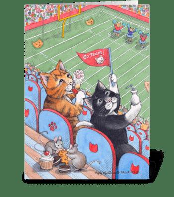 Football Cats Happy Birthday #61 greeting card
