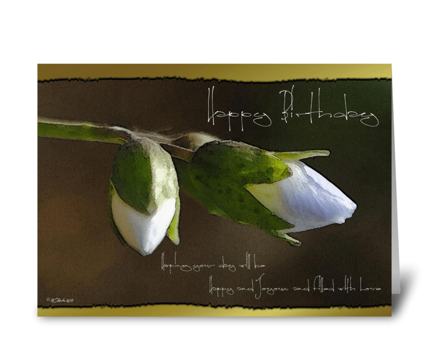 Delicate White Buds Birthday Card greeting card