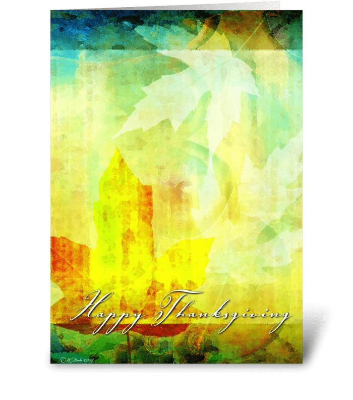 Abstract Leafs Thanksgiving Card greeting card