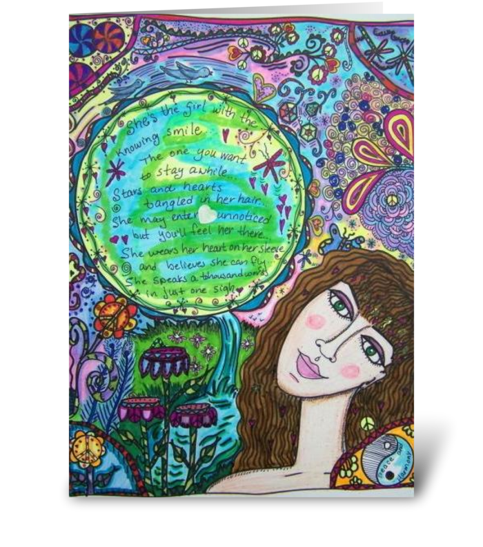The Girl With The Knowing Smile greeting card