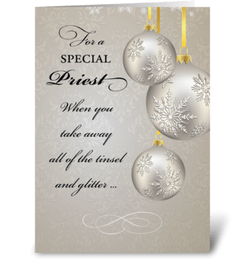 Catholic Priest Christmas, Elegant greeting card