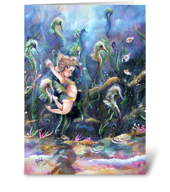 Little one & Sea Horses greeting card