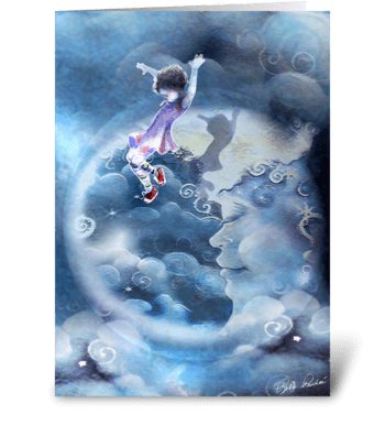 Little Girl Jumps Over the Moon greeting card