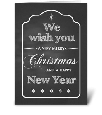Chalkboard We Wish You a Merry Christmas greeting card
