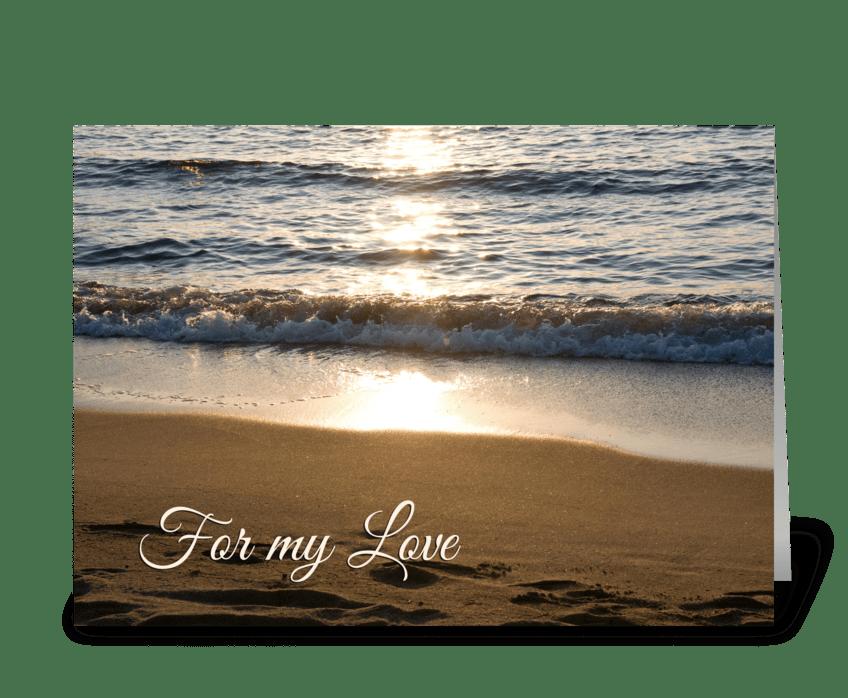 Happy Anniversary Beach at Sunset greeting card