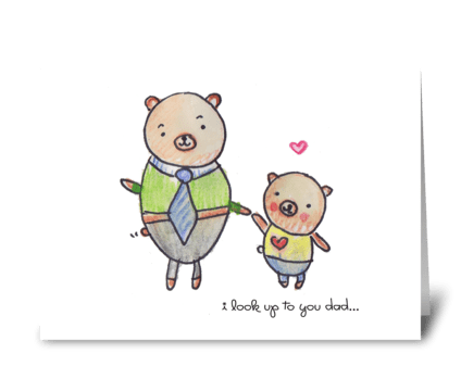 Little Bear with Dad greeting card