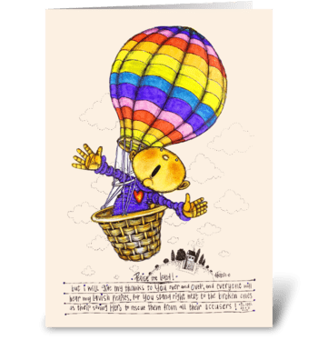 Get well air balloon greeting card