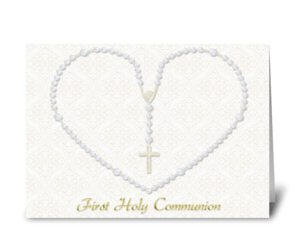 Heart Shaped Rosary Beads, Communion greeting card