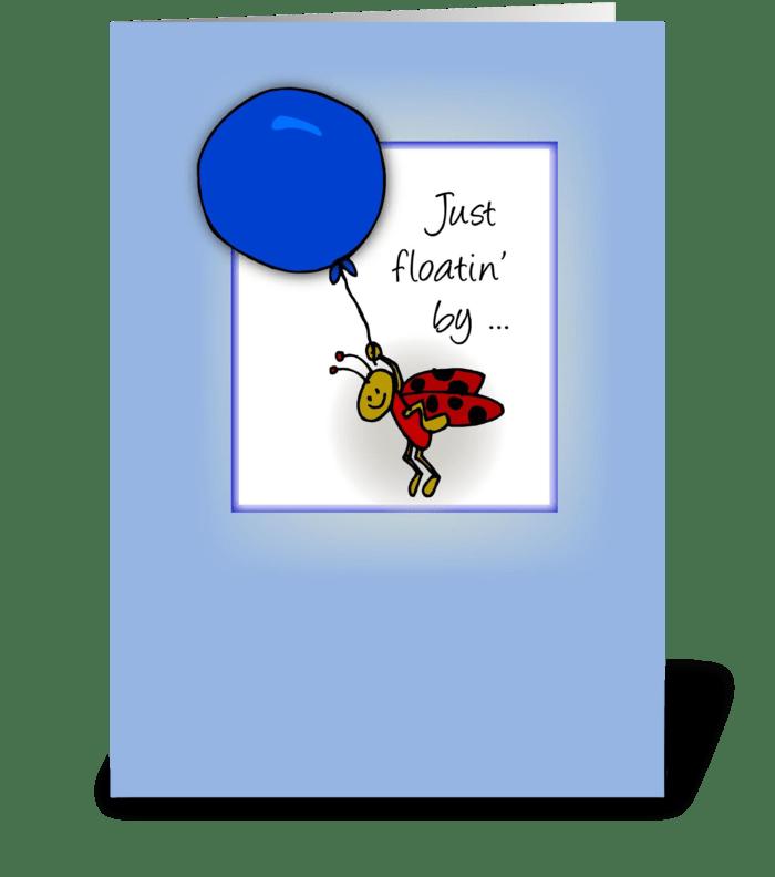 Ladybug with Balloon, Hello greeting card