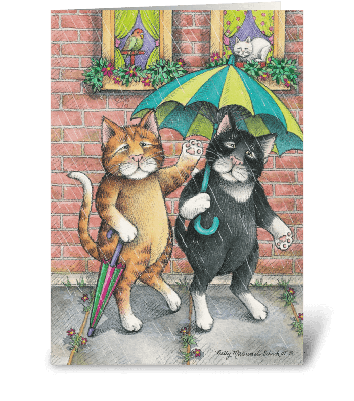 Rainy Day Cats Get Well #16 greeting card