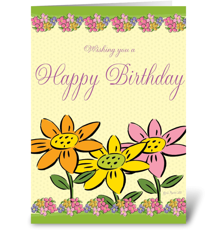 Three Flowers Birthday Card greeting card