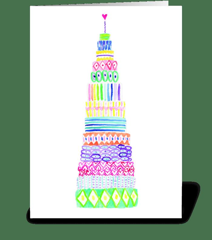 13 layer birthday cake greeting card