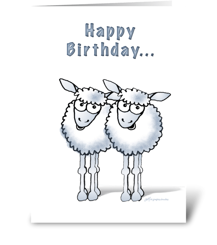 Happy Birthday Two Ewe Sheep Send This Greeting Card Designed By