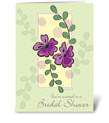 Purple Flowers Bridal Shower Invite greeting card