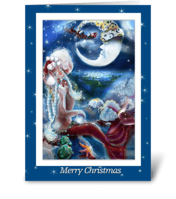 A Mermaid's Christmas Eve greeting card