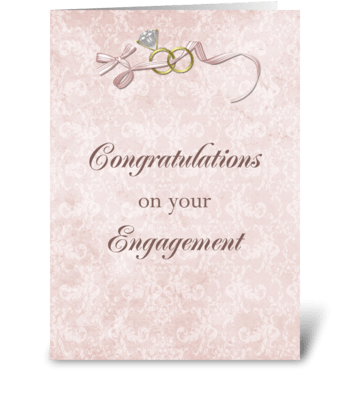 Engagement Congratulations, Rings, Bow greeting card