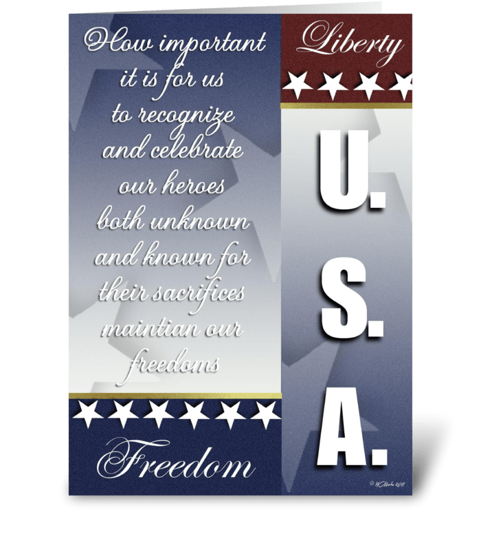 Red White and Blue Patriotic Card greeting card