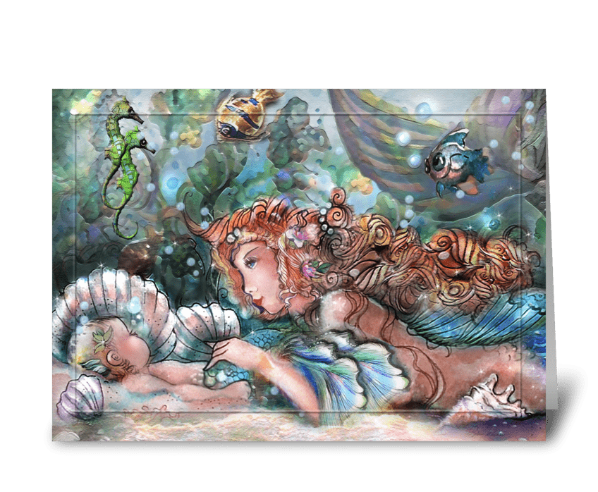 pretty mermaid Mom and Baby greeting card