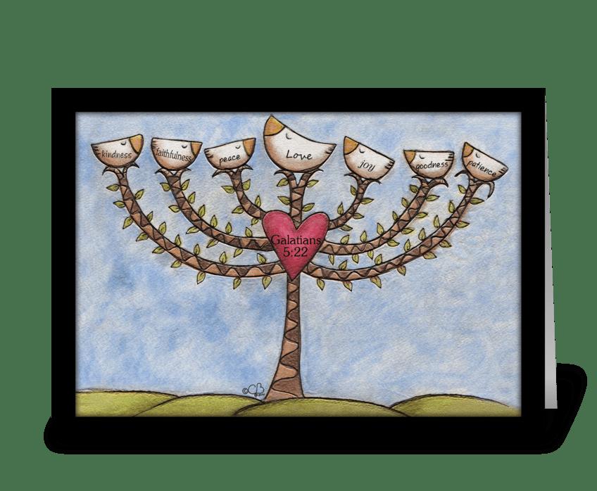 Fruits of the Spirit Menorah Tree greeting card
