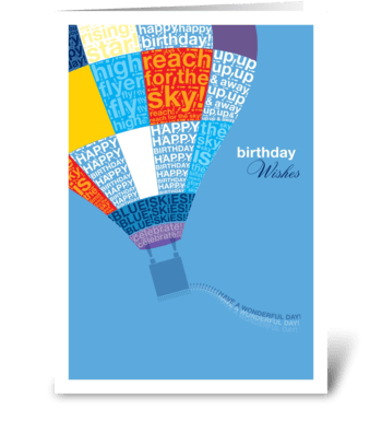 Bithday Hot Air Balloon greeting card