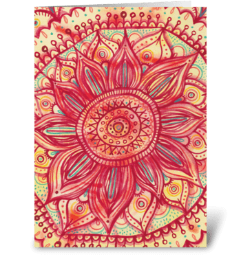 Sunflower Mandala greeting card