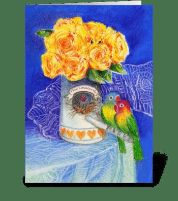 Engagement Congratulations Lovebirds greeting card