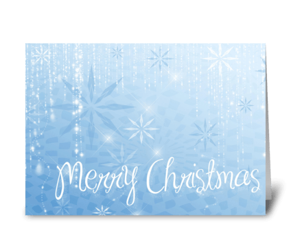 Blue Snowflake Sparkle Merry Christmas greeting card