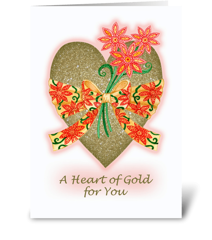 Valentine Heart of Gold greeting card
