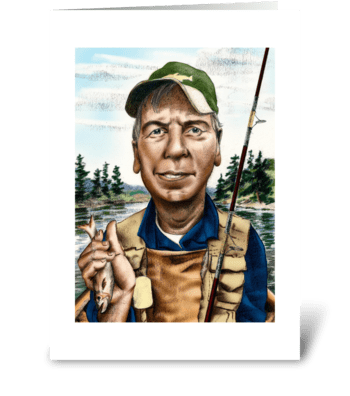 Fisherman with Catch greeting card
